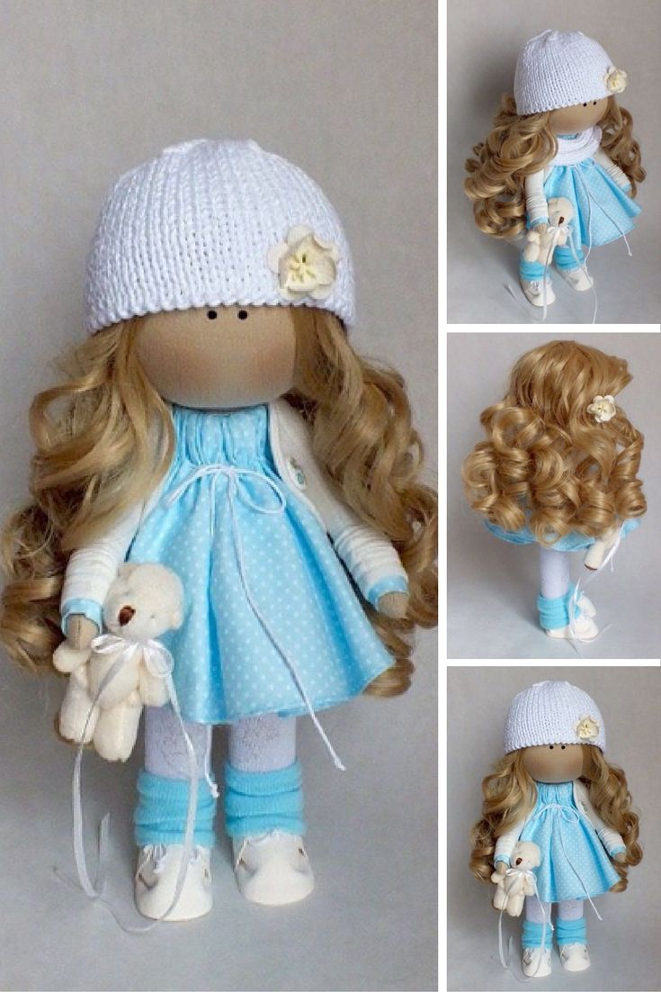 Fabric doll Interior doll Tilda doll Interior doll Art doll Handmade doll Blue doll Soft doll Textile doll Cloth doll