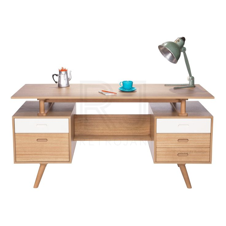 Josephine Scandinavian Style Office Desk - Natural / White | $599.00
