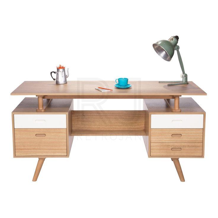 Josephine Scandinavian Style Office Desk - Natural / White | $599.00