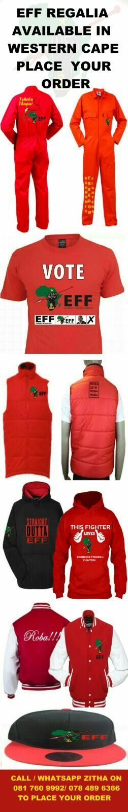 EFF Regalia available. Place your order! Western Cape Only
