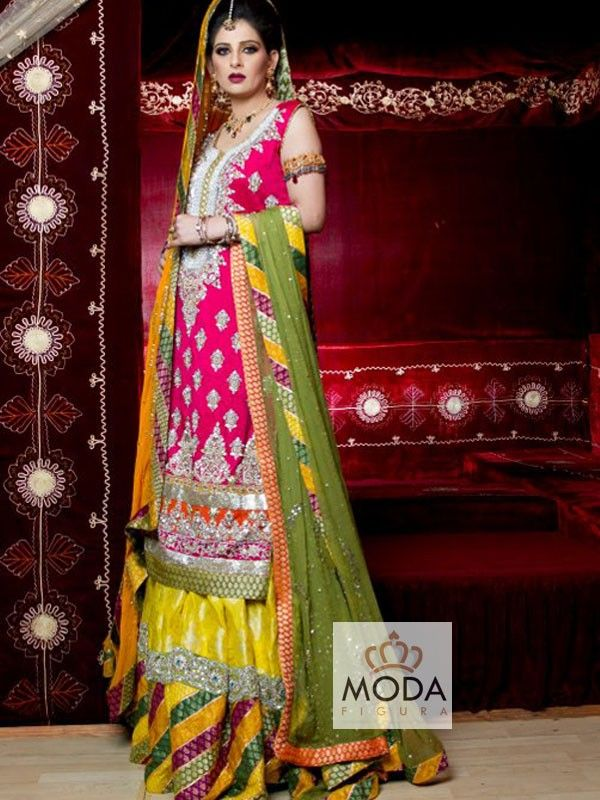 Muslim bridal chatapati sharara in pink, yellow, orange and mehndi color