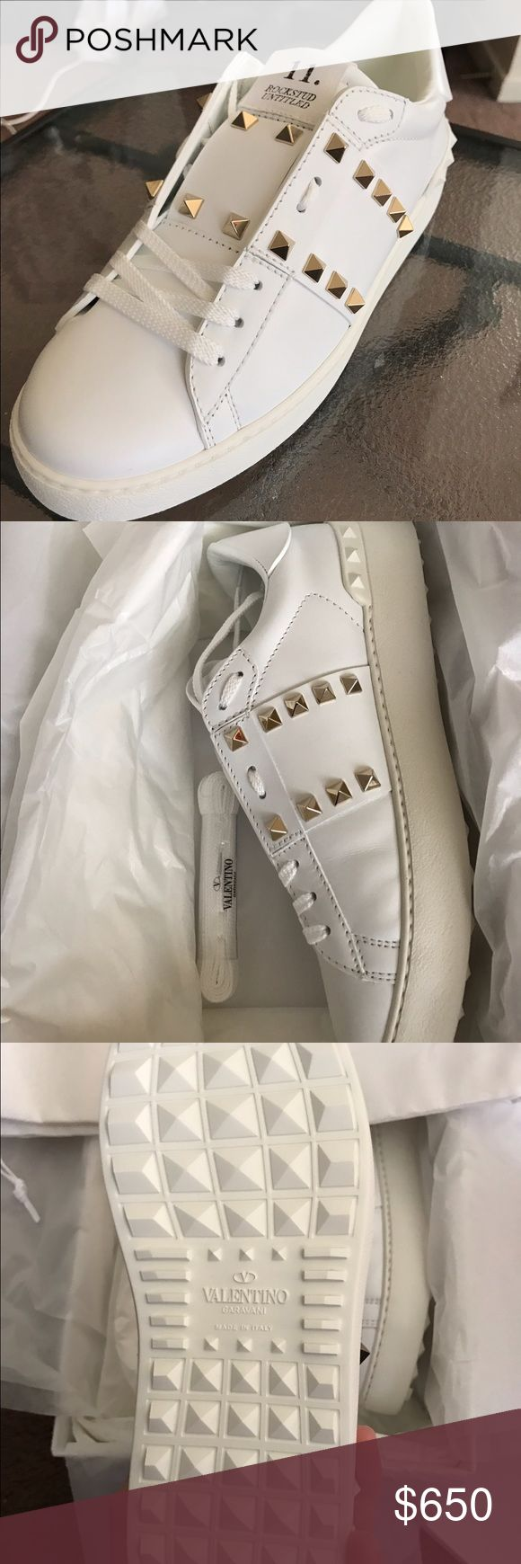 Valentino Garavani Authentic New Sneakers Valentino Stud Sneakers, receipt available upon request white. With box and shoe bag Valentino Garavani Shoes