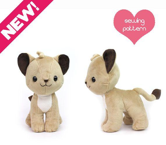 "PDF Lion Cub plush sewing pattern - chibi cat feline Pokemon standing plushie - easy dog fox wolf stuffed animal 10"""