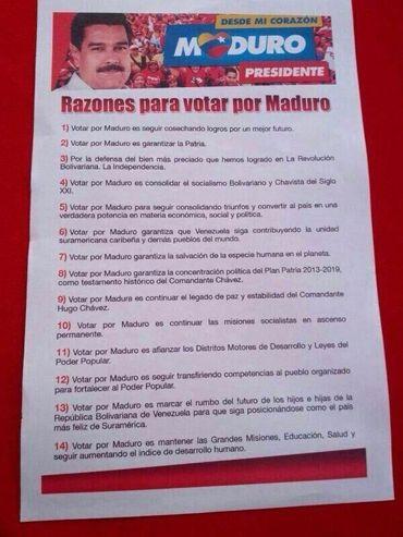 Vea uno de los volantes de publicidad del candidato presidencial Nicolás Maduro que circulan en las calles de Venezuela y redes sociales. http://www.kienyke.com/confidencias/votar-por-nicolas-maduro-porque-salvara-a-la-especie-humana/