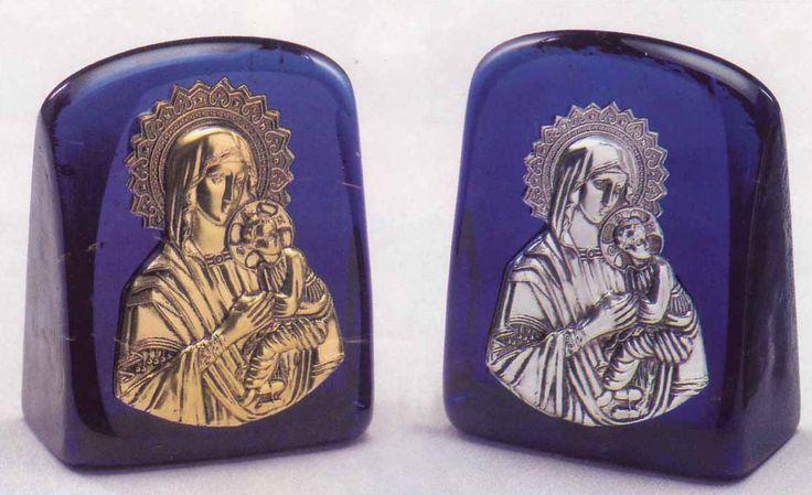 Theotokos Icon on Blown Glass A 8x11cm