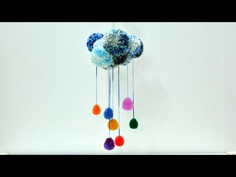 Pom Poms Rainbow Rain Cloud yarn wall decoration art craft diy tutorial kids play ideas fun carousel