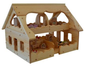 Maison de poupée en bois maison de par AToymakersDaughter sur Etsy                                                                                                                                                                                 Plus