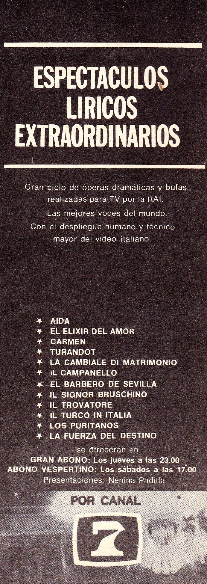 Publicidad de programación, CANAL 7, Buenos Aires, 1970.