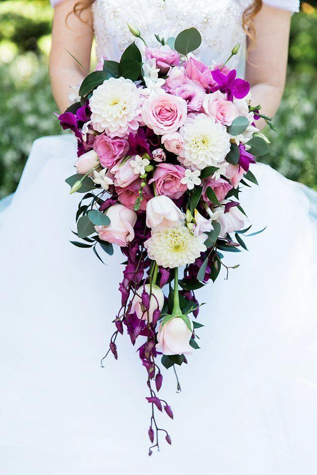 Vibrant Ivory Pink Cascade Of Roses Dahlias And Eucalyptus Pink Wedding Bouquet Pi Wedding Bouquets Pink Pretty Wedding Bouquet Cascading Bridal Bouquets