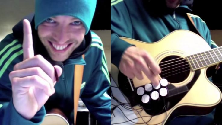Guy plays Epic guitar and drums at same time!