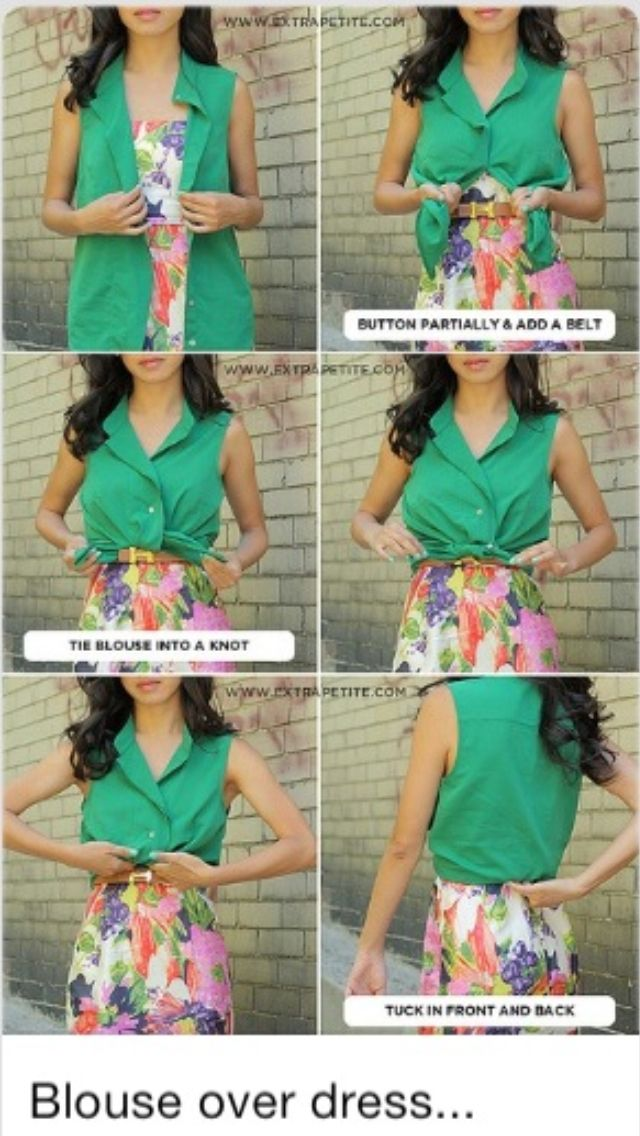 How to wear a blouse over a dress - looks like shirt and skirt