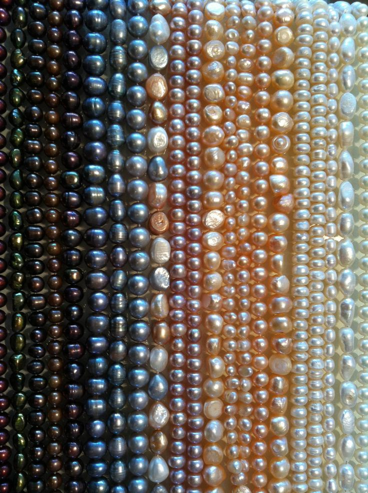 Sweet water pearls, knotted or laced.