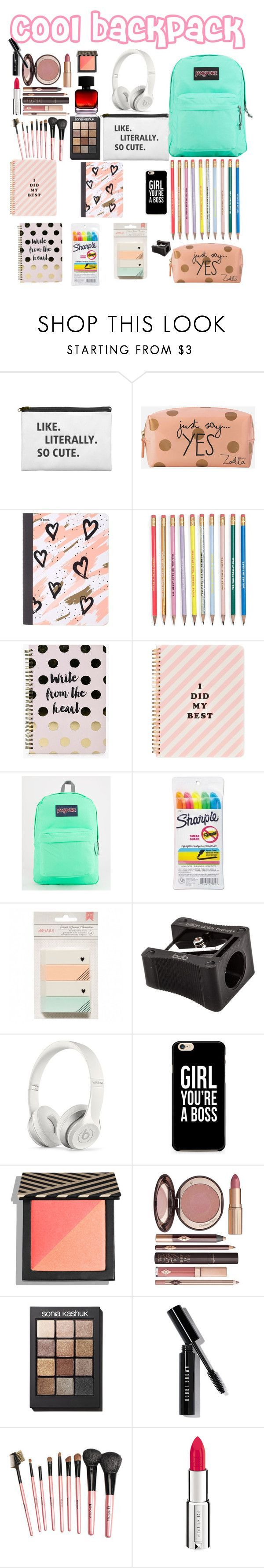 """""""What is in my backpack - cool backpack"""" by littlestylistn ❤ liked on Polyvore featuring Zoella Beauty, Mead, Boohoo, ban.do, JanSport, Sharpie, Billion Dollar Brows, Beats by Dr. Dre, Charlotte Tilbury and Sonia Kashuk"""