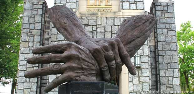 Giant Hands of Dr. Sid by sculptor Stephen Smith located at the largest  chiropractic college in the world in  Marietta, Georgia.
