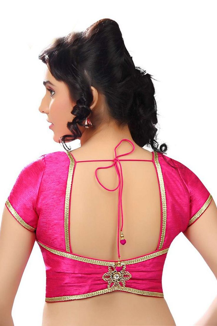 Dark #pink casual wear back embellished raw #silk #stylish #blouse -BL692