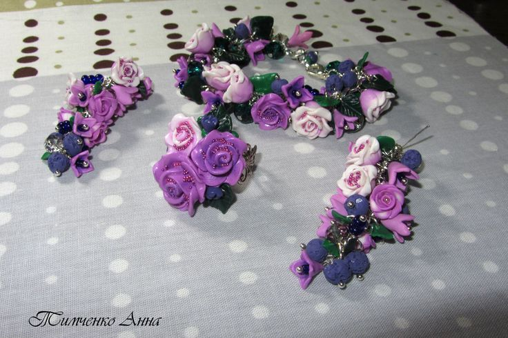 HM polymer clay set bracelet, ring and earrings.