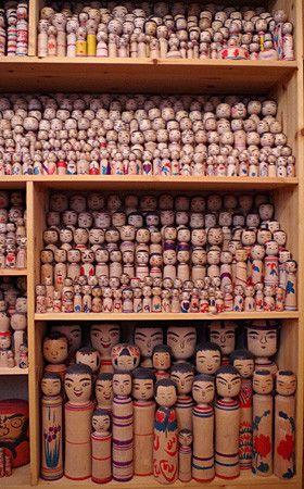 高崎市の坂入良喜さん宅にて今晃こけしコレクション Vintage Kokeshi doll collection