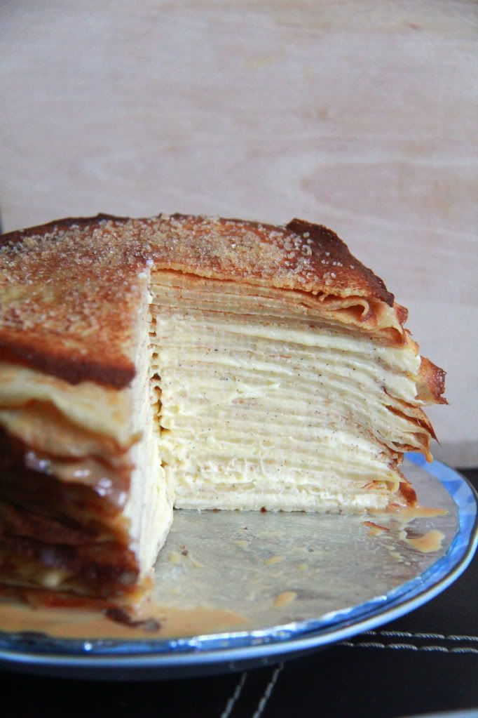 Crumbs and Cookies: mille crepe cake. Vanilla curd, brown sugar, and caramel!
