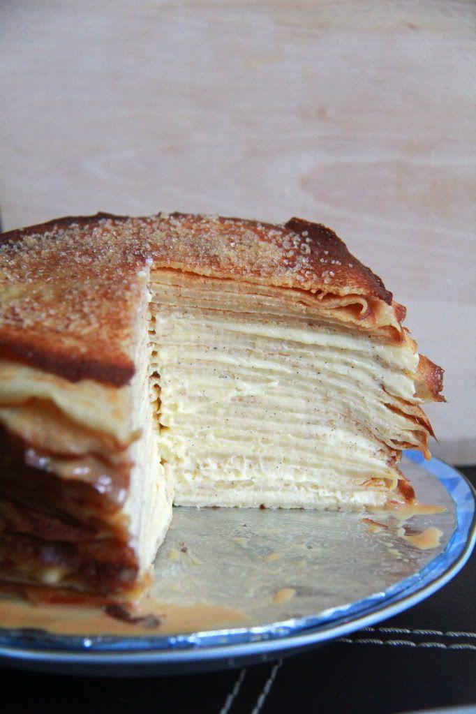 Crumbs and Cookies: mille crepe cake. Vanilla curd, brown sugar, and caramel!