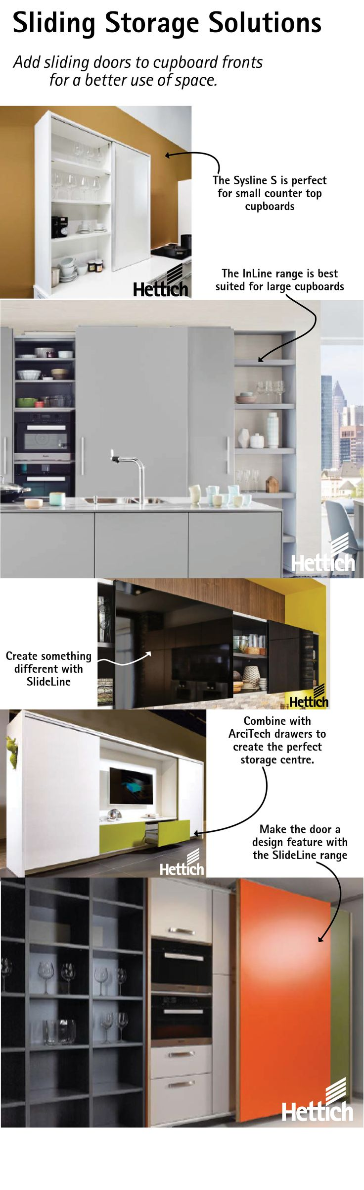 Add sliding doors instead of opening doors to cupboards for a better use of space. Click on the pin for more inspiration. #slidingdoordesign #storagesolutions