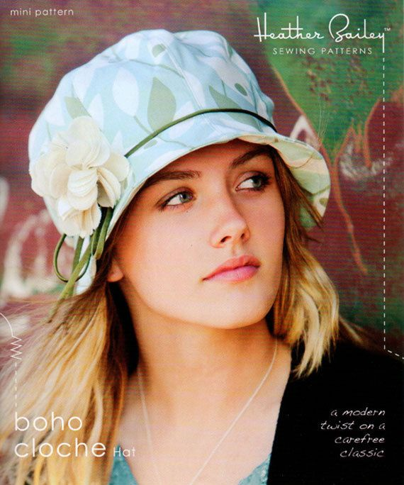 Heather Bailey Boho Cloche Hat Sewing Pattern, FREE SHIPPING