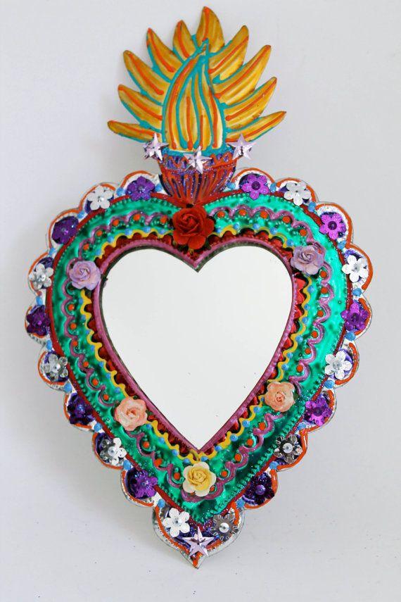 Cinco de Mayo Sacred Heart tin metal mirror / Mexican folk art / bright colorful…
