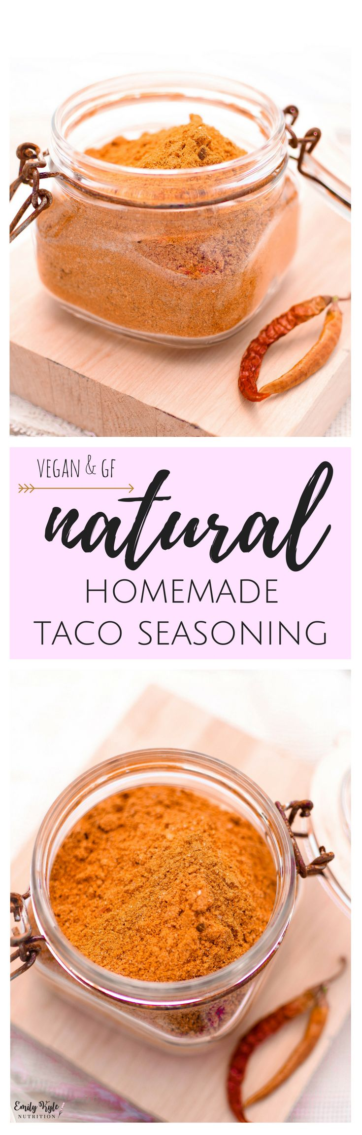 Skip the artificial, prepackaged taco seasoning and spice up your taco night with this healthier All Natural Gluten Free Homemade Taco Seasoning! via @EmKyleNutrition