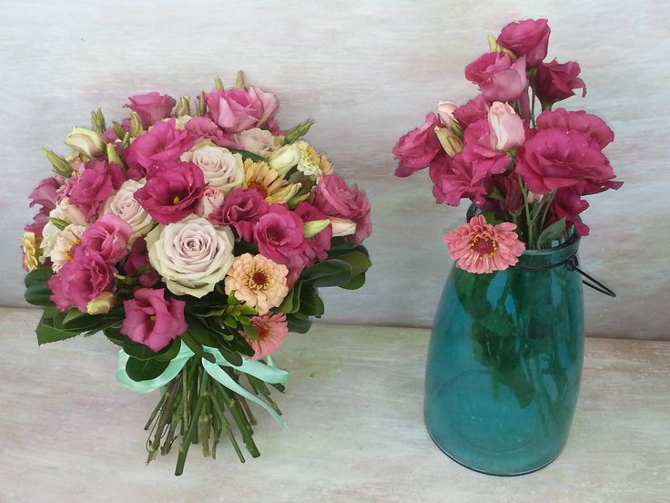 beautiful bouquet in warm colours with lisianthus, roses and gardenroses. #florariamiozotis