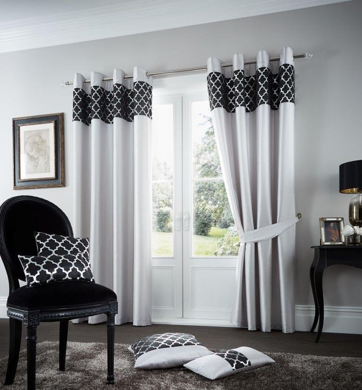 Shiny Silver Black Lined Eyelet Curtains – Linen and Bedding