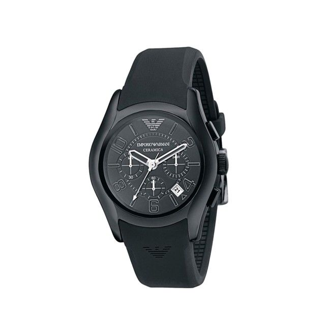 Armani  Black Round Dial Silicone Strap Watch-For Men Suitable for Casual look Shop now at www.ohnineone.com #menswear #watch #timepiece #men #accessory #ohnineone