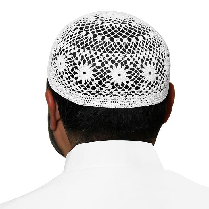 White Swiss Cotton Knitted Kufi Muslim Prayer Mens Skull Cap -20 inch