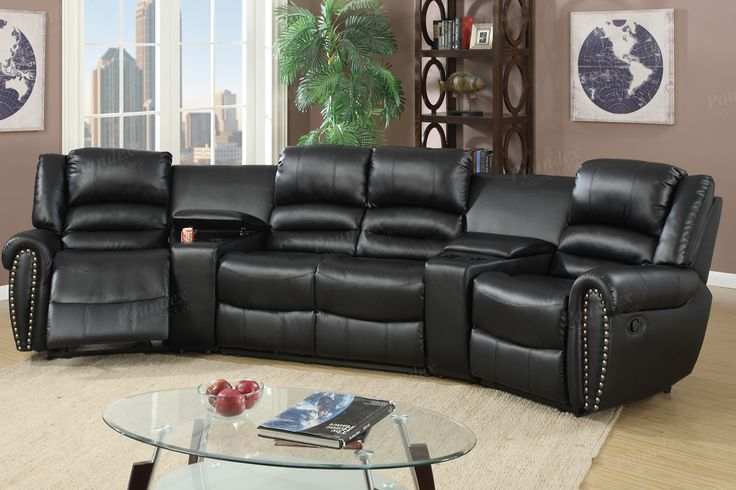 Motion Home Theater Reclining Sectional Sofa Set F6747 $943  Invite your friends and family to your home for a screening of your favorite movie while relaxing on this reclining home theater and motion sofa set. This oversized plush unit is upholstered in bonded leather and nickel plated finished studs trim with double barrel back rests and extra cushioned seating. It also features reclining seats and two center consoles for storing your remote control and cup holders. Available in black and…