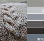 KABEL BREIEN - Kleurenpalet grijs. Grof gebreid kussen met kabel, voor de koude wintermaanden