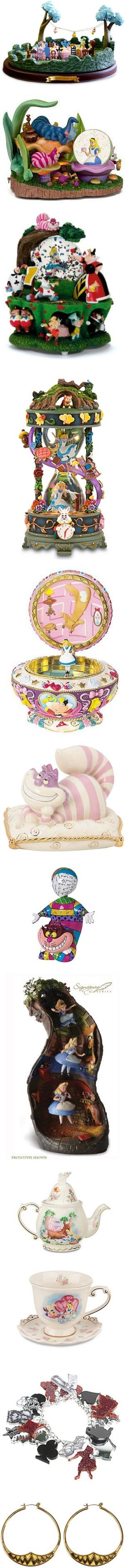 Merchandise in Wonderland by bigcitygoil on Polyvore featuring alice, alice in wonderland, disney, home, home decor, disney music box, fall home decor, music home decor, disney home decor and animals