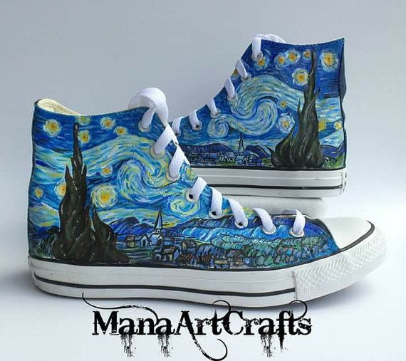 Van Gogh Starry Night inspired Custom Hand Painted Converse High tops