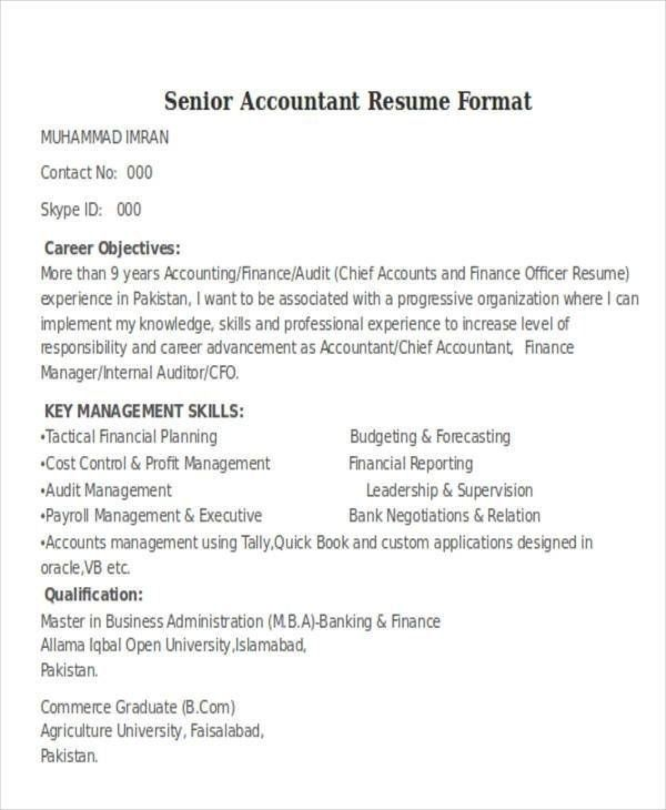 Senior Auditor Resume Accountant Resume Resume Format Accountant Resume Resume Format Job Resume Format