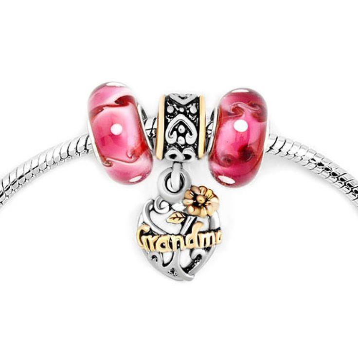 Murano Glass Silver Plated Filigree Heart Flower Grandma Beads Set BraceletPandora Compatible | Charmsstory.com   #grandma #pandora #charms #heart #love #glass #charmbracelet