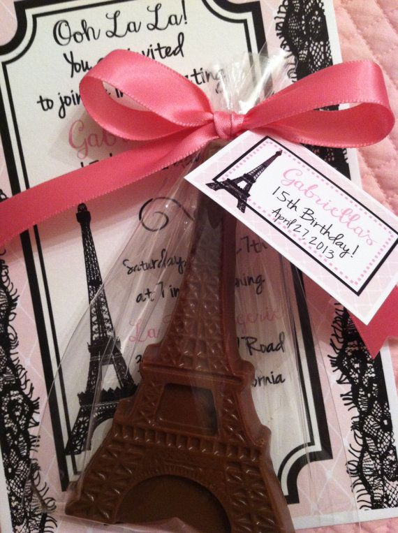 Chocolate Eiffel Tower París tema Favor con etiqueta arco del satén y confeti