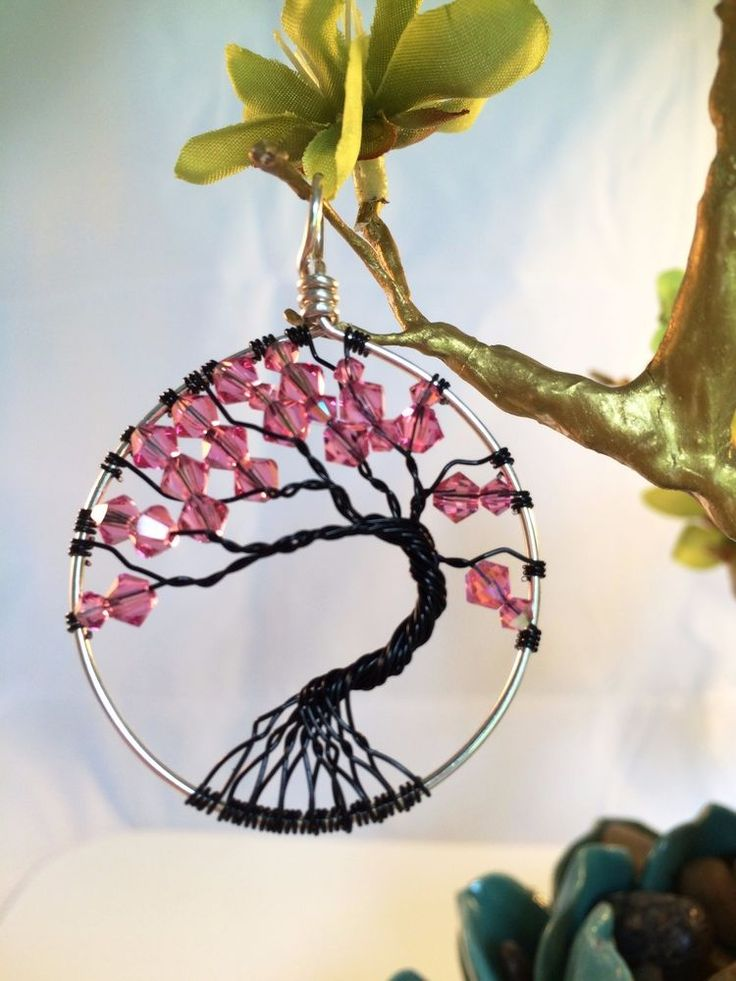 Wire Wrapped-Tree of Life Pendant-necklace-handmade-Swarovski Crystals Pink-925 #HandmadebyInTheNowDesigns #Pendant