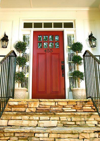 Front Door Update Love the pop of color on white