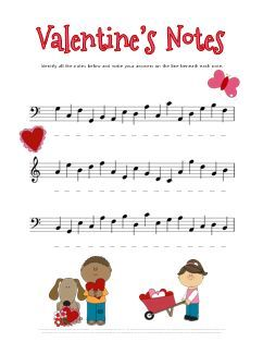 Cut free Valentines music theory worksheet for practicing note names.