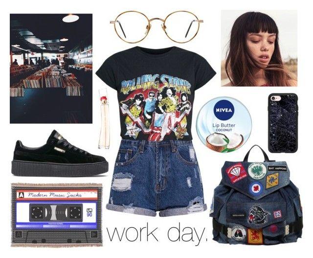 """work day."" by sunfayn on Polyvore featuring moda, GlassesUSA, Dsquared2, Puma, Casetify, Nivea e Kenzo"