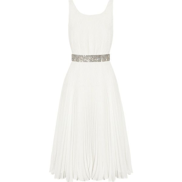 Alice + Olivia Cora plissé-georgette dress (860 BRL) ❤ liked on Polyvore featuring dresses, alice + olivia, day dresses, double layer dress, layered dress, white layered dress, white day dress and georgette dress