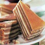 Waarom noemen we dit gerecht spekkoek? Omdat deze koek bestaat uit een laagje lichtgeel beslag en een laagje bruin beslag. Doen we dit om en om krijg je ...