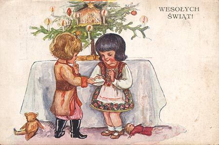 painted by Tadeusz Okuń - before 1933 (Merry Christmas)