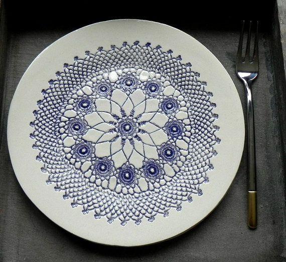 Rustic Ceramic Plate Indigo Lace Dessert Plate Unique Serving