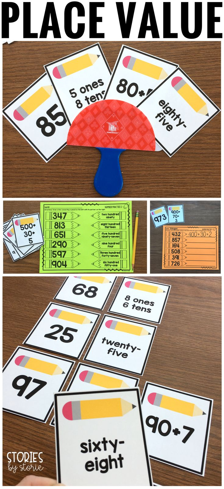 This place value pack includes a Go Fish style game as well as four practice pages. For each set of numbers there are four cards. These numbers are represented in standard form, word form, expanded form, and place value form. These cards work within numbers to 100 and numbers to 1,000.