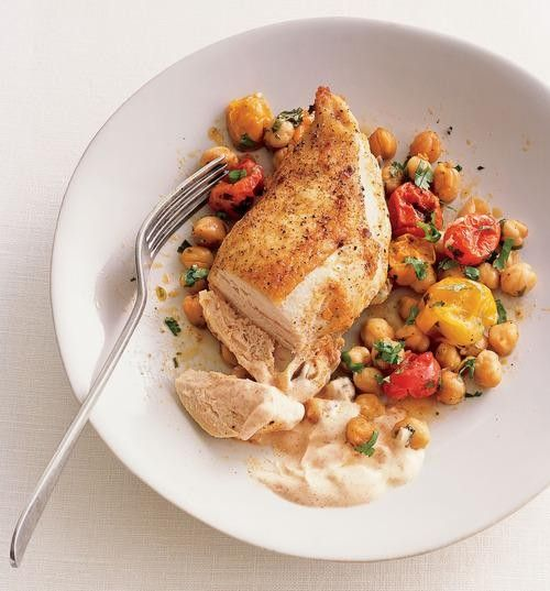 Chicken Recipes, Part by Part: The Breast - Roast Chicken Breasts with Garbanzo Beans, Tomatoes, and Paprika