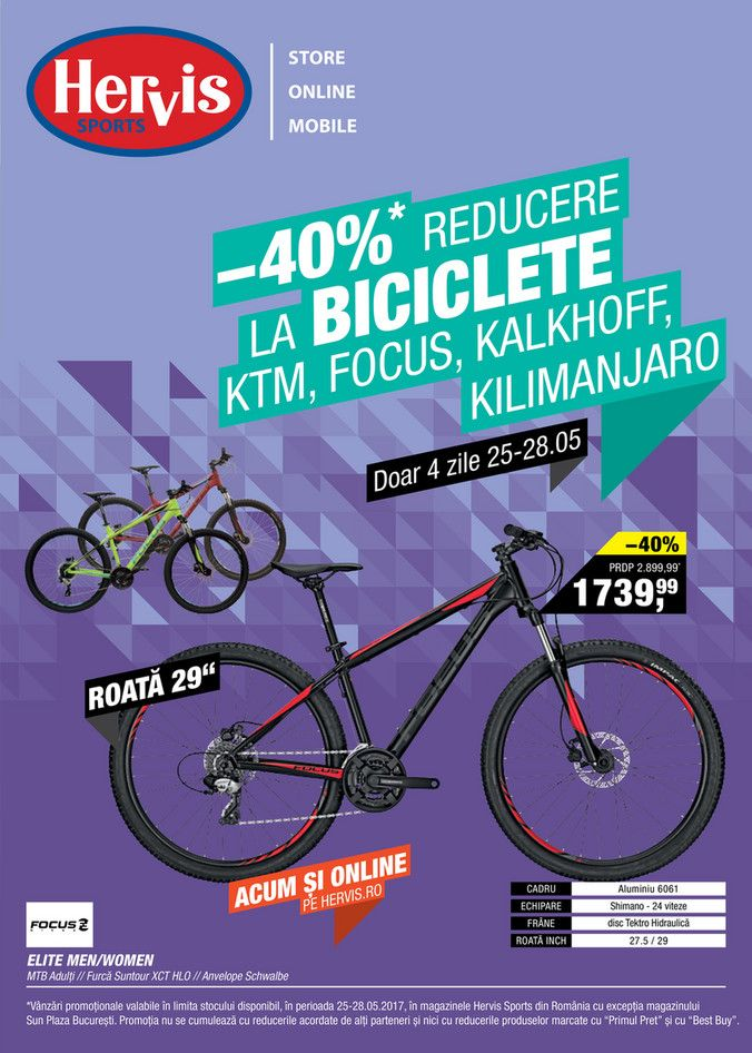 Catalog Hervis Sports Reduceri Biciclete KTM, Focus, Kalkhoff & Kilimanjaro in perioada 25-28 Mai 2017! Oferte: bicicleta Elite Men/Women MTB adulti