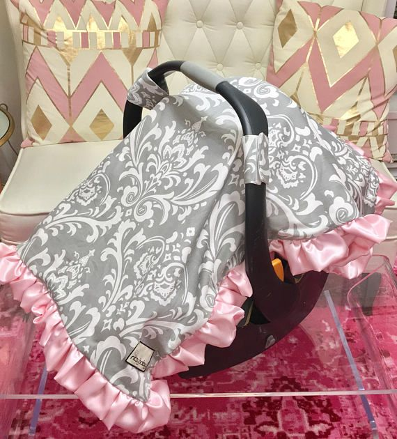 Baby Pink Canopy Blanket, Grey Damask Car Seat Cover, Grey Car Seat Blanket, Car Seat Canopy Blanket with Soft Minky Reverse, Car Seat Cover Grey Damask is such a classic and it is so so cute and perfect for baby girl paired with baby pink! Attachable baby blankets seem to be all the